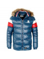Crosshatch Men's Snowhouse Faux Fur Parka Jacket Navy Blue