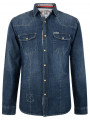 Soul Star Soft Vintage Fashion Denim Shirt Slim Fit Mid Blue