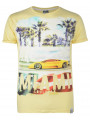 Soul Star Crew Neck Print T-shirt Miami Car Yellow