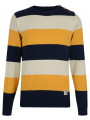 Crosshatch Crew Neck Striped Knit Jumper Yellow