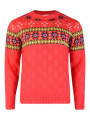 Rock & Revival Crew Neck Fair Isle Knitted Jumper Poppy Red