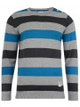 Crosshatch Crew Neck Striped Knit Jumper Katter Blue