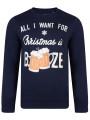 Christmas Jumper Crew Neck Sweatshirt Booze Beer Navy