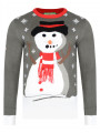 3D Novelty Christmas Jumper Crew Neck Carrot Nose Snowman Charcoal