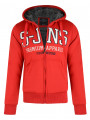 Smith & Jones Chamfered Zip Up Fur Lined Hoodie Red