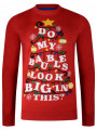 Christmas Jumper Funny Crew Neck Baubles Xmas Tree Red