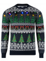 Light Up Novelty Christmas Jumper Crew Neck LED Wrapping Navy