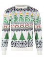 Light Up Novelty Christmas Jumper Crew Neck LED Wrapping Ecru