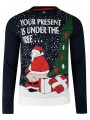 Christmas Jumper Funny Crew Neck Parcels Under Tree Deep Navy