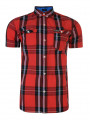 Firetrap Dunloe Short Sleeve Check Shirt Racing Red