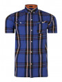 Firetrap Dunloe Short Sleeve Check Shirt Vallarta Blue