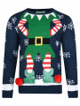 3D Novelty Christmas Jumper Crew Neck Elf Body Navy Blue