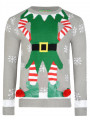 3D Novelty Christmas Jumper Crew Neck Elf Body Grey
