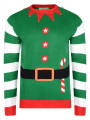 3D Novelty Christmas Jumper Crew Neck Elf Jacket Green
