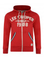 Lee Cooper Men's 1908 Frant Print Zip Up Hoodie Red