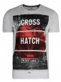 Crosshatch T-Shirt Printed Logo Light Grey