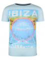 Soul Star Crew Neck Print T-shirt Ibiza Party People Sky Blue
