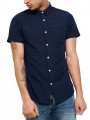 Threadbare Simon Short Sleeve Print Pattern Shirt Navy Blue