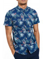 Threadbare Tropico Hawaiian Palm Print Pattern Shirt Navy Blue