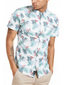 Threadbare Tropico Hawaiian Palm Print Pattern Shirt White