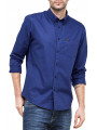 Lee Button Down Long Sleeve Plain Shirt Indigo Flash
