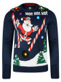 Light Up Novelty Christmas Jumper Crew Neck LED Skiing Santa Navy