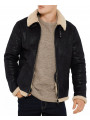 Threadbare Aviator Lancaster Sherpa Collar Synthetic Leather Jacket Black