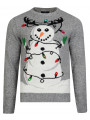 Light Up Novelty Christmas Jumper Crew Neck LED Tangled Snowman Mid Grey