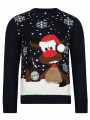 Light Up Novelty Christmas Jumper Crew Neck LED Brudolph Deep Navy