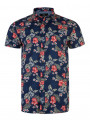Threadbare Print Short Sleeve Print Shirt Multi Blue