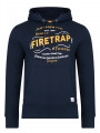Firetrap Townson Deadly Overhead Print Hoodie Total Eclipse