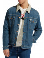 Wrangler Sherpa Fur Denim Trucker Jacket Green Room