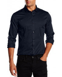 Jack & Jones Slim Parma Long Sleeve Shirt Navy Blazer | Jean Scene