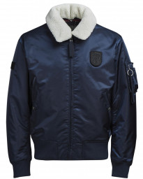 Jack & Jones Bomber Sherpa Padded Jacket Total Eclipse Blue | Jean Scene
