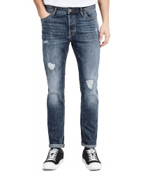 Jack & Jones Tim Slim Fit Denim Jeans Ripped Blue | Jean Scene