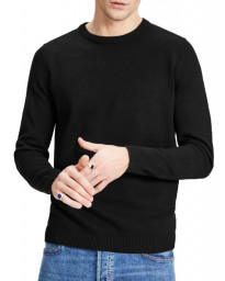 Jack & Jones Crew Neck Cotton Knit Jumper Black | Jean Scene
