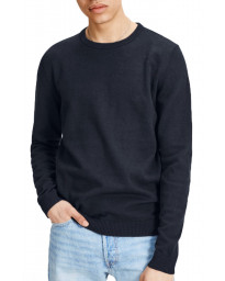 Jack & Jones Crew Neck Cotton Knit Jumper Navy Blazer | Jean Scene