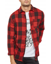 Jack & Jones Long Sleeve Dylan Check Shirt Fiery Red | Jean Scene