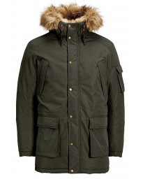 Jack & Jones Men's Latte Parka Jacket Forest Night | Jean Scene