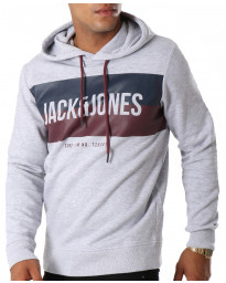 Jack & Jones Overhead Men's Block Hoodie Light Grey | Jean Scene