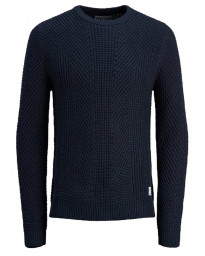 Jack & Jones Crew Neck Cotton Stanford Jumper Black Navy | Jean Scene
