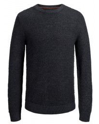 Jack & Jones Crew Neck Cotton Knit Jumper Total Eclipse | Jean Scene