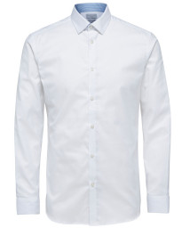 Selected Slim Mark Long Sleeve Shirt Bright White | Jean Scene
