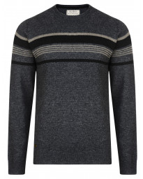 Old Boys Network Men's Lambswool Barton Knit Jumper Charcoal Marl | Jean Scene