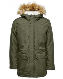 Only & Sons Padded Parka Jacket Deep Depths Green | Jean Scene