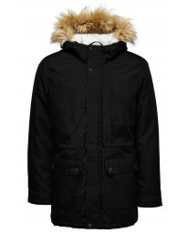 Only & Sons Padded Parka Jacket Black | Jean Scene