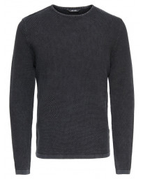 Only & Sons Crew Neck Cotton Hugh Jumper Black | Jean Scene