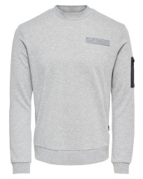 Only & Sons Crew Neck Colin Sweatshirt Light Grey Melange | Jean Scene