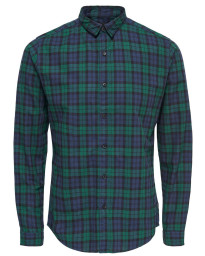 Only & Sons Slim Trent Long Sleeve Shirt Rain Forest | Jean Scene