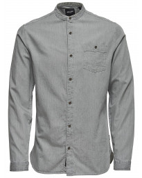 Only & Sons Slim Try Longline Long Sleeve Shirt Grey Pinstripe | Jean Scene